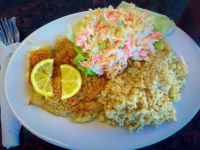 our Friday special: baked haddock with bread crumbs, rice pilaf and cole slaw