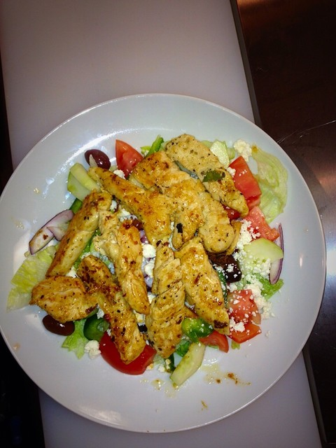 healthy Greek salad with fresh grilled chicken!